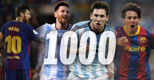 Messi heeft 1000 doelpunten gescoord in de voetbalcarrière
